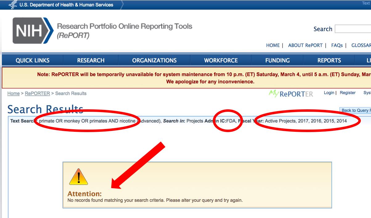 Reporter results FDA monkeys 3-2-17