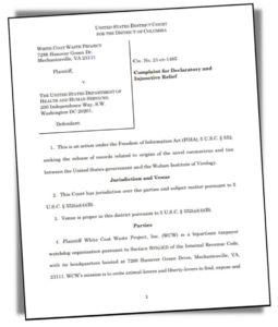 Page one of White Coat Waste project lawsuit documents
